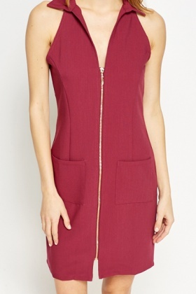 Purple Collared Zip Front Bodycon Dress