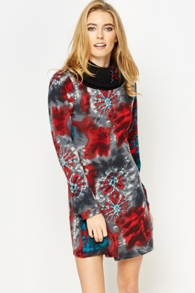 Roll Kneck Tie Dye Jumper Dress