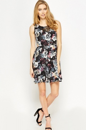 Sleeveless Floral Skater Dress