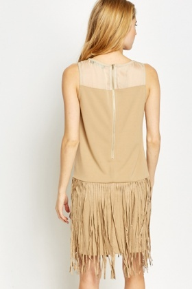 Sleeveless Fringed Contrast Dress