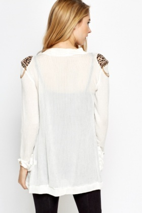 Studded Shoulders Perforated Cardigan