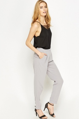 Tapered Light Grey Trousers