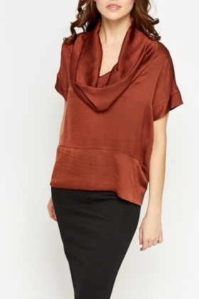 Bronze Silky Cowl Neck Blouse