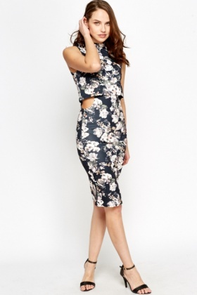 Cut Out Overlay Floral Dress