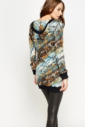 Hooded Letter Print Long Jumper