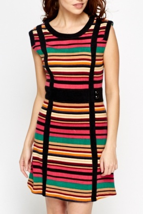 Multi Stripe Contrast Knit Dress