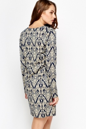 Navy Contrast Swing Dress