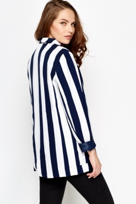 Navy Striped Blazer Jacket