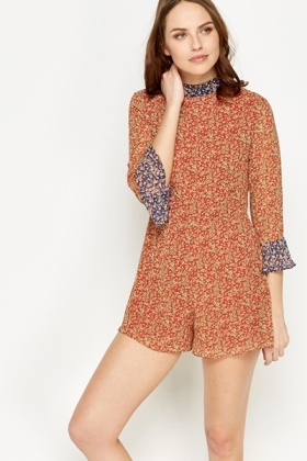 Orange Contrast Floral Trim Playsuit