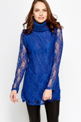Petite Lace Overlay Roll Neck Dress