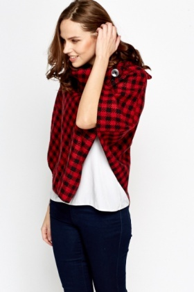 Red Check Grid Poncho
