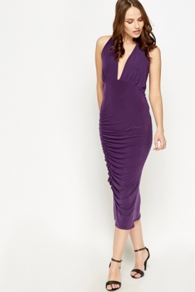 Ruched Plunge Midi Dress