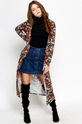Multi Print Long Open Front Cardigan
