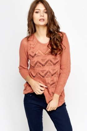 Zig Zag Perforated Knit Jumper