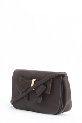 Faux Leather Bow Shoulder Bag