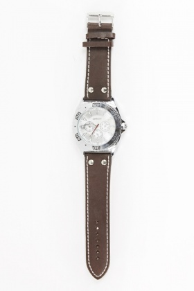 Faux Leather Chronograph Watch
