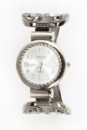 Heart Embellished Bangle Watch