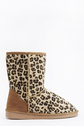 Leopard Print Contrast Boots