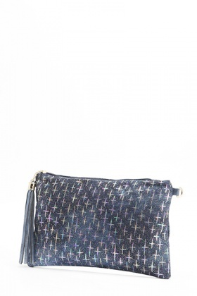 Multi Cross Denim Clutch Bag