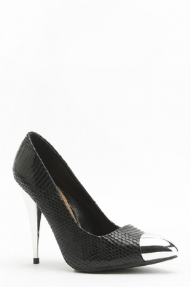 Pointed Contrast Textured Heels