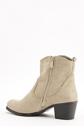 Suedette Fringed Side Ankle Boots