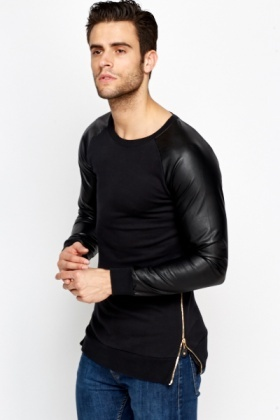 Black Faux Leather Sleeve Jumper