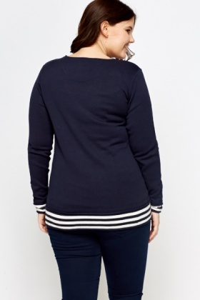 Contrast Knit Insert Sweater