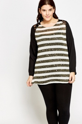 Contrast Sleeve Sequin Striped Top