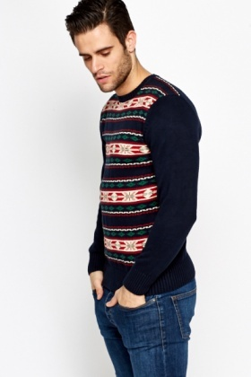Cotton Blend Contrast Jumper