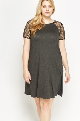 Dark Grey Lace Shoulder Dress