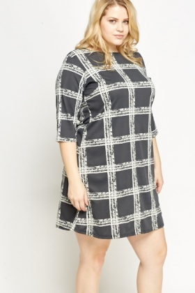 Grey Grid Check Dress