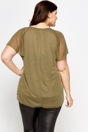 Olive Flare Sheer Top