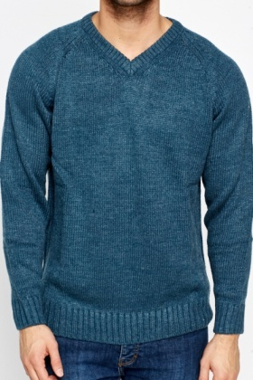 Ribbed Trim V-Neck Jumper