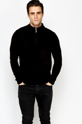 Ribbed Zip Up Neck Soft Jumper