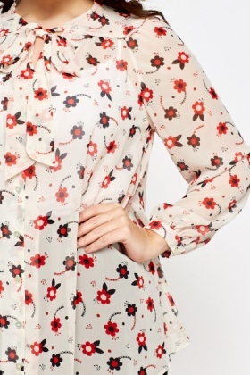 Sheer Floral Overlay Blouse