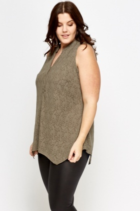 Sleeveless Khaki Lace Overlay Blouse