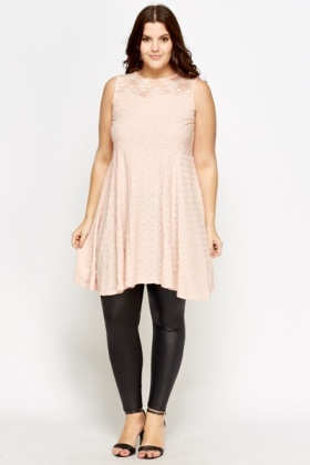 Textured Lace Yoke Skater Dress