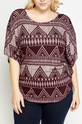 Wine Aztec Print Top