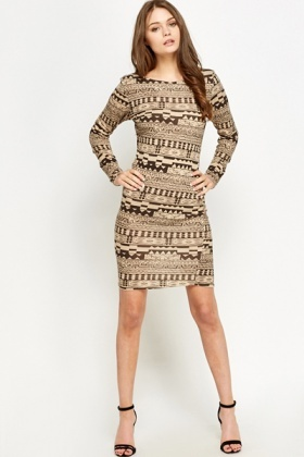 Beige Aztec Bodycon Dress