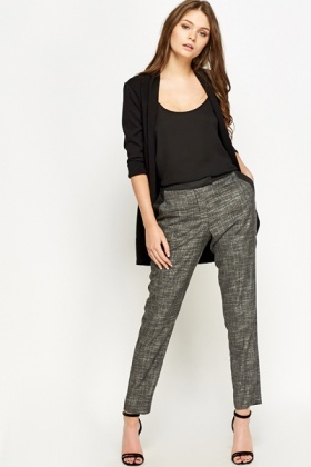 Black Contrast Print Tapered Trousers