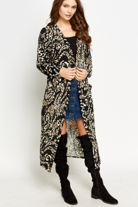 Contrast Animal Print Long Cardigan