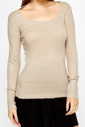 Elbow Patch Light Pink Pullover
