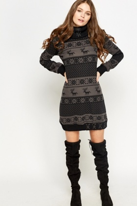 Fair Isle Roll Neck Jumper Dress