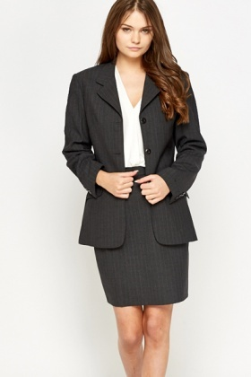 Formal Charcoal Pinstripe Blazer