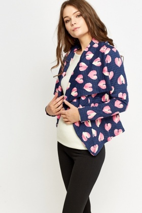 Heart Print Waterfall Jacket