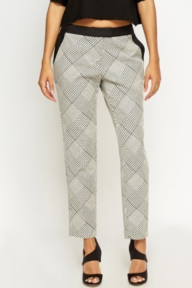 Houndstooth Check Cigarette Trousers