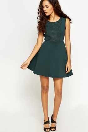 Lace Front Scuba Swing Dress