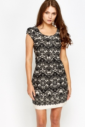 Pleated Neck Printed Shift Dress