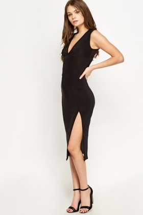 Plunge Slit Hem Bodycon Dress