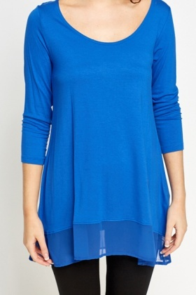 Sheer Trim Royal Blue Top